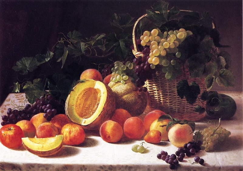 Still Life with Basket of Grapes by George Hetzel