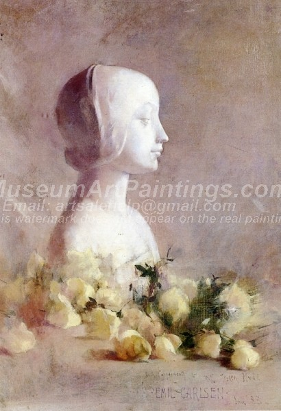 Still Life with Bust and White Roses Painting