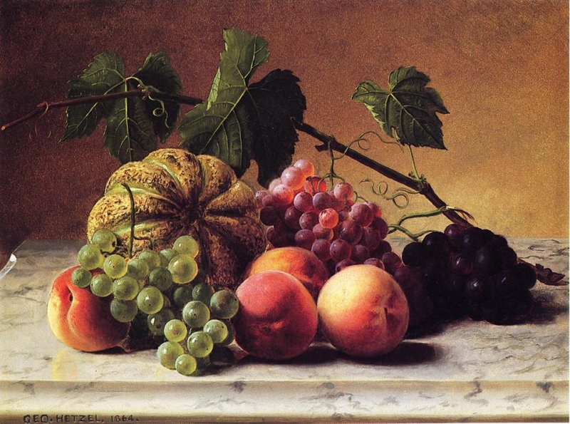 Still Life with Cantaloupe Grapes and Peaches by George Hetzel