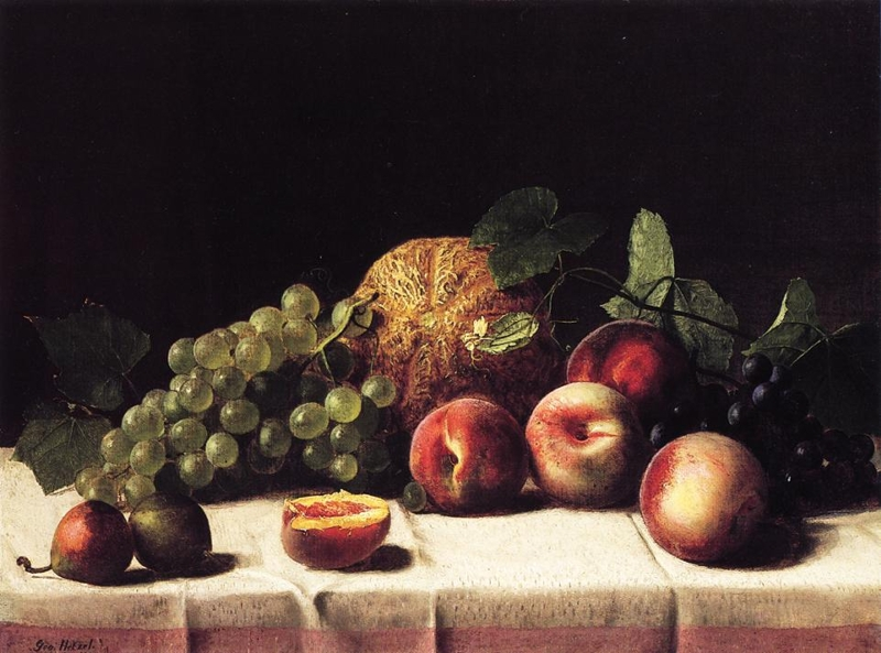 Still Life with Cantaloupe Peaches and Grapes by George Hetzel