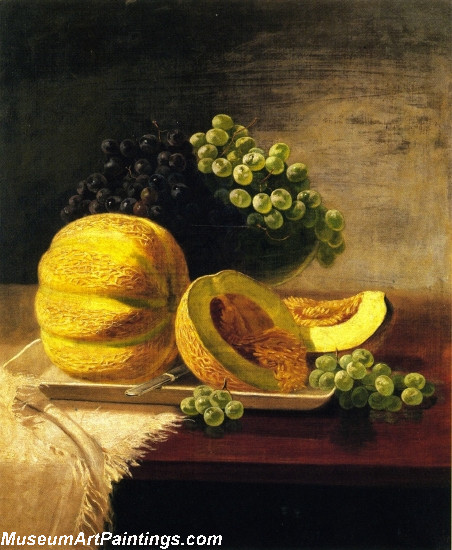 Still Life with Cantaloupe and Grapes