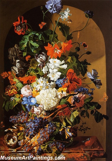 Still Life with Flowers and Grapes Painting