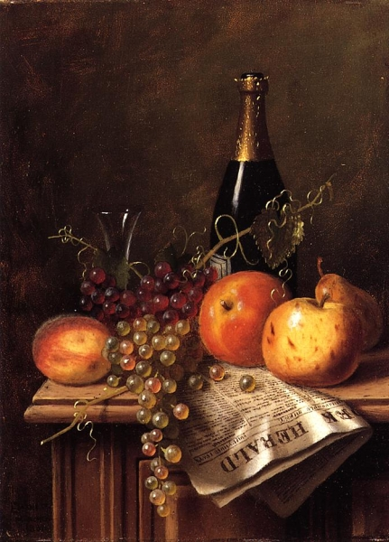 Still Life with Fruit Champagne Bottle and Newspaper by William Michael Harnett
