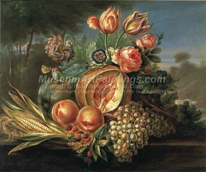 Still Life with Fruit and Flowers by Cornelius de Beet