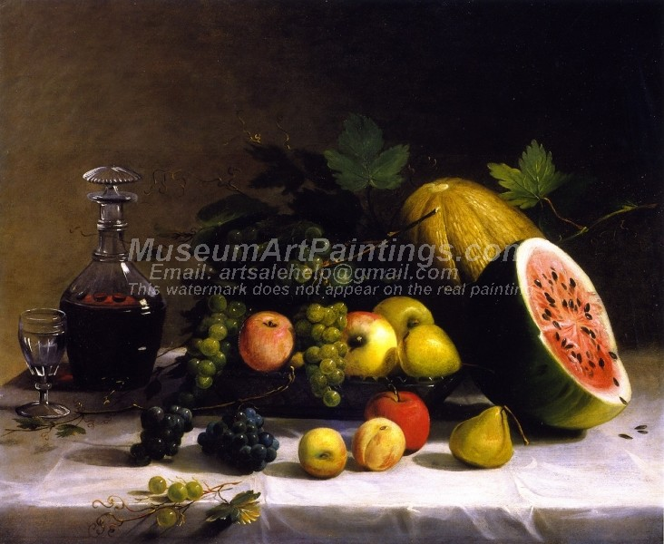 Still Life with Fruit and Wine by Thomas Badger