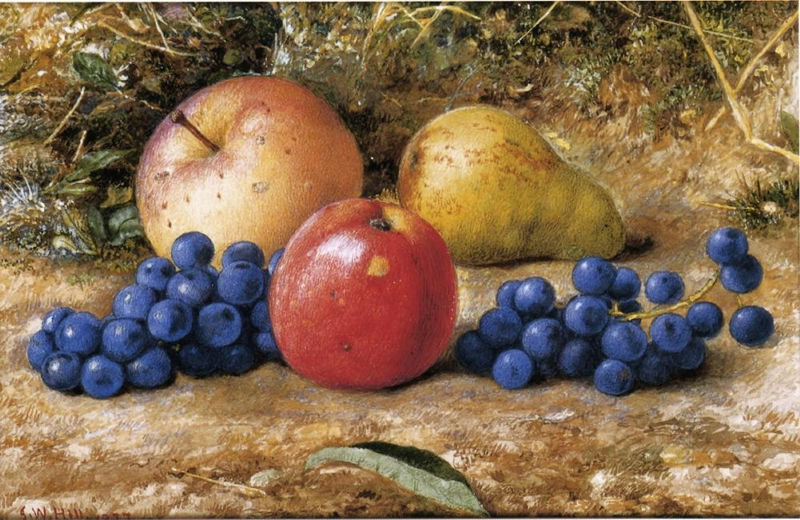 Still Life with Grapes Apples and Pear by John William Hill