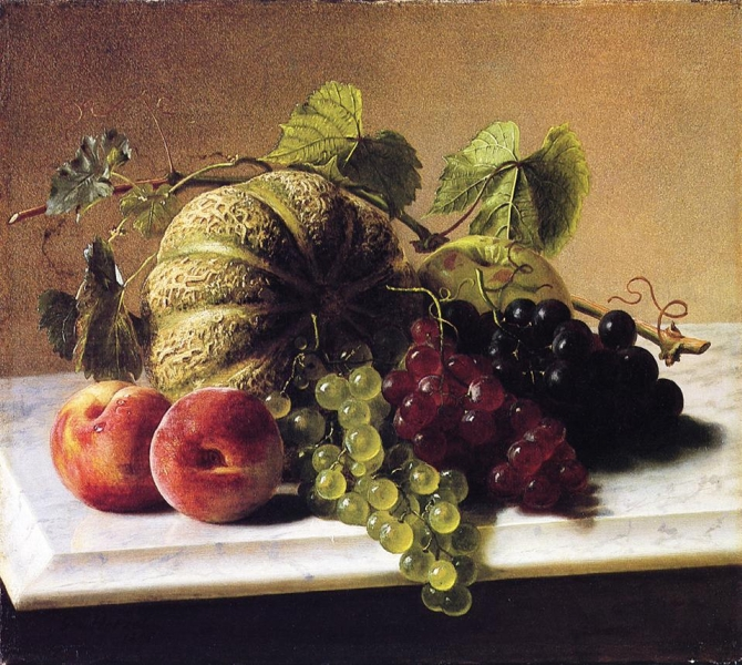 Still Life with Melons Grapes by George Hetzel