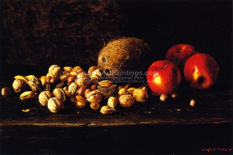 Still Life with Nuts Coconut and Apples by Joseph Kleitsch