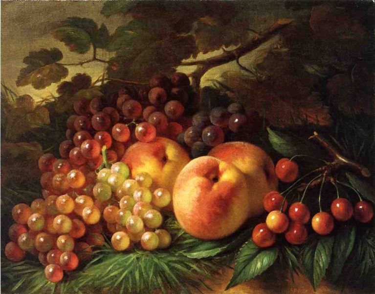 Still Life with Peaches and Grapes by George Henry Hall