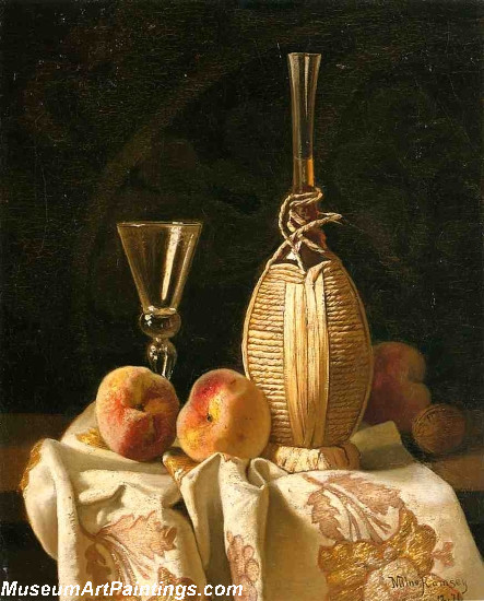 Still Life with Peaches and Wiine Painting