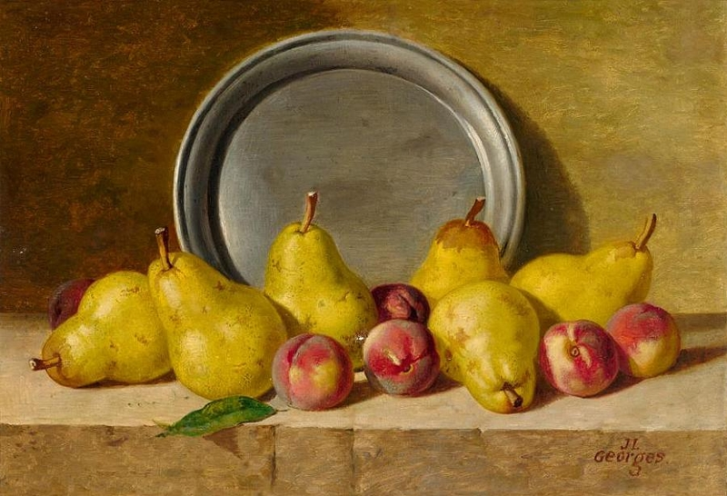 Still Life with Pears Peaches and Pewter Plate