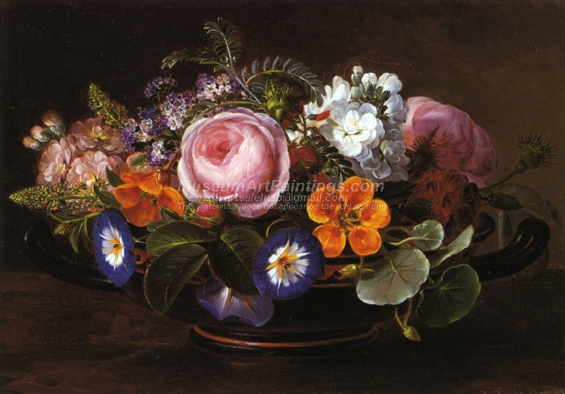Still Life with Pink Peonies and Morning Glories