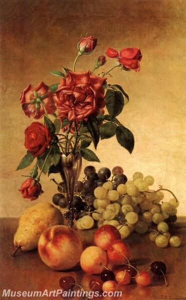 Still Life with Roses and Fruit Painting
