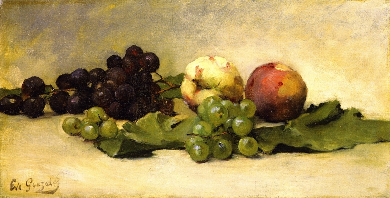 Still Life with Two Peaches and Grapes by Eva Gonzales