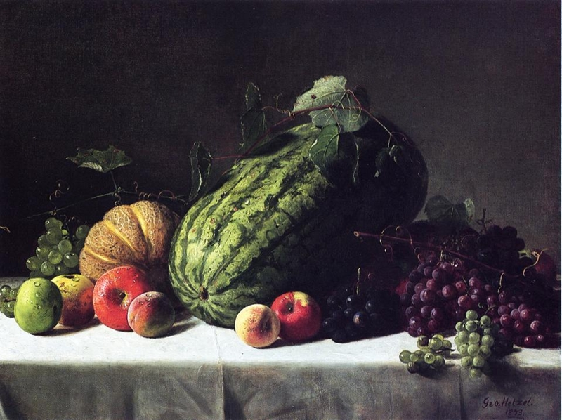 Still Life with Watermelon Cantaloupe and Grapes by George Hetzel