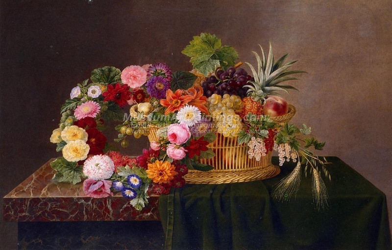 Still Life with a Basket of Fruit and a Wreath of Asters Dahlias Day Lillies and Morning Glories