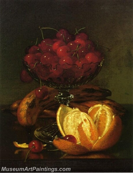 Still Liife of Compote Cherries Three Bananas and Orange Painting