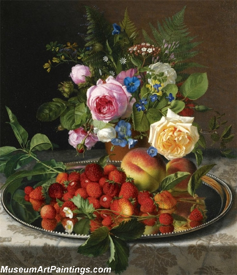Still life with roses and strawberries on a silver salver