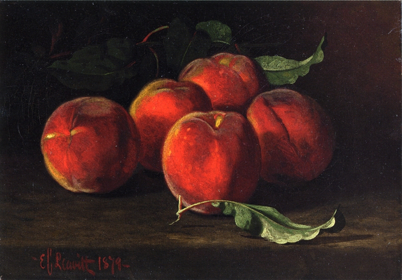 Table Top Still Life of Peaches by Edward C Leavitt