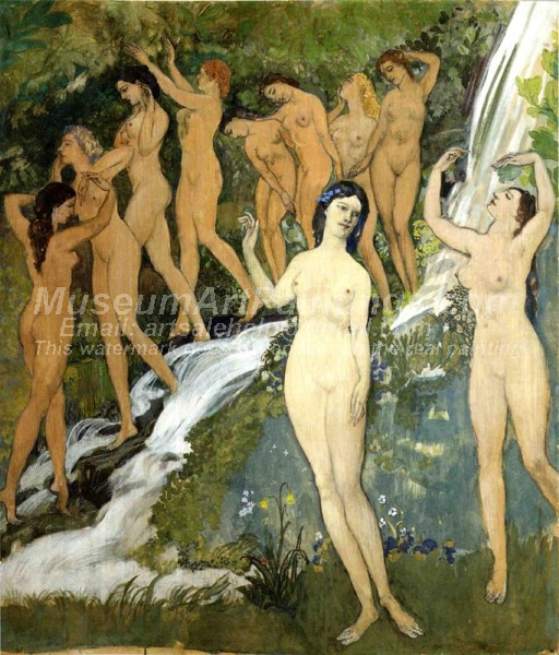 Ten Nudes by a Waterfall Arthur B Davies