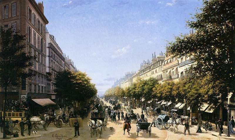 The Boulevad des Italiens Paris by Edmond Georges Grandjean