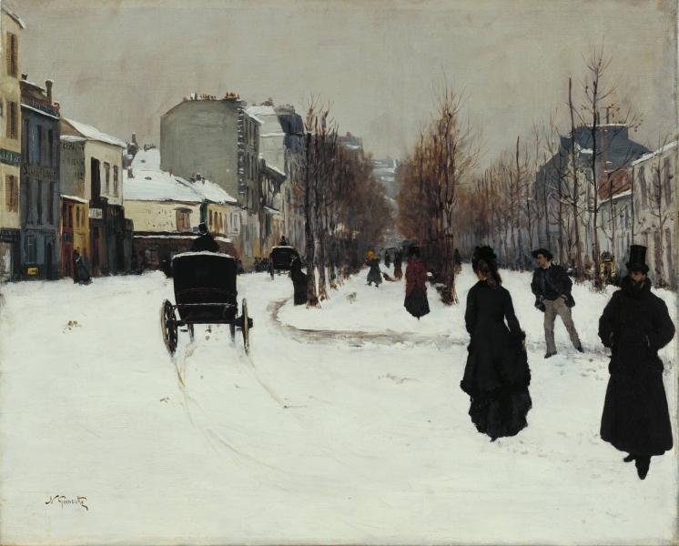 The Boulevard de Clichy under Snow by Norbert Goeneutte