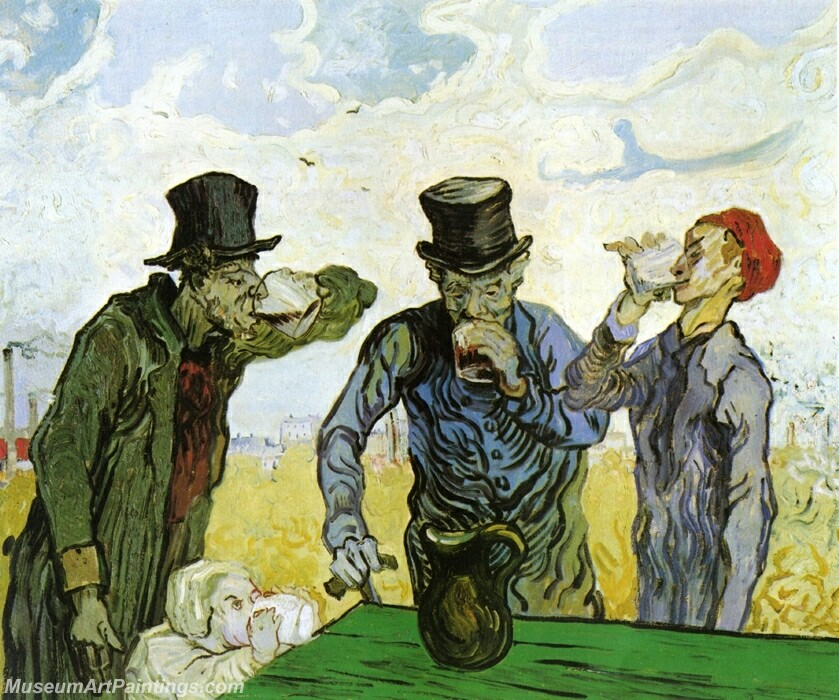 The Drinkers (after Daumier) Painting