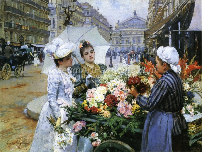 The Flower Seller Avenue de LOpera Paris by Louis Marie de Schryver