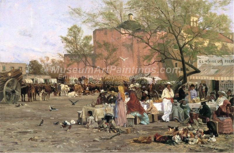 The Market Plaza San Antonio Painting by Thomas Allen