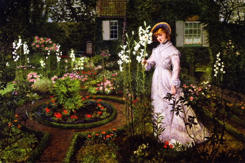The Rectors Garden Queen of the Lilies by John Atkinson Grimshaw