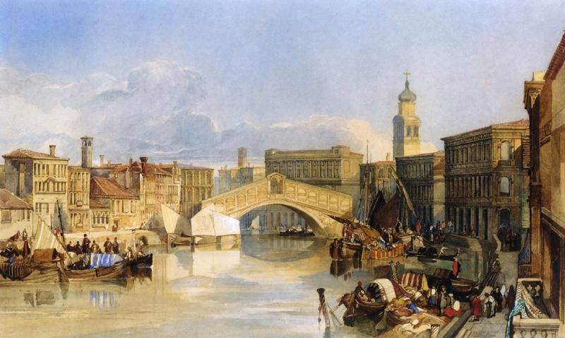 The Rialto Bridge Venice by William James Muller