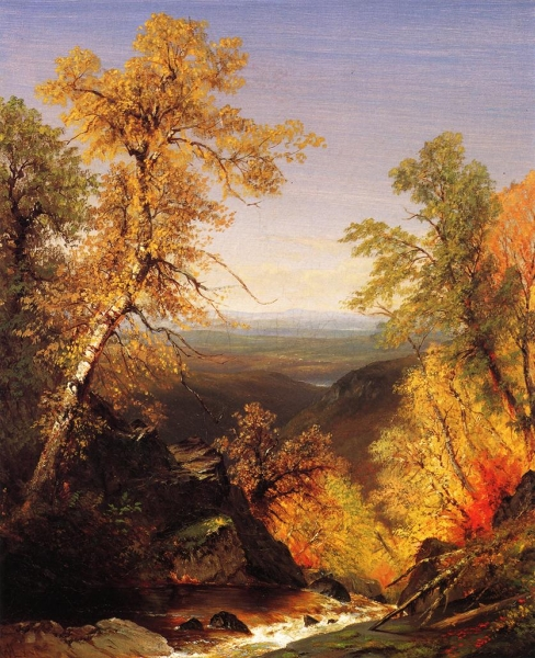 The Top of Kaaterskill Falls Autumnn by Richard William Hubbard