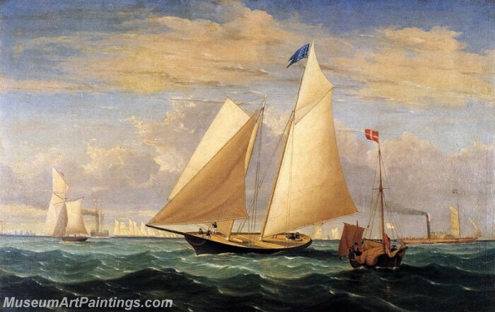 The Yacht America Winning the International Race Painting