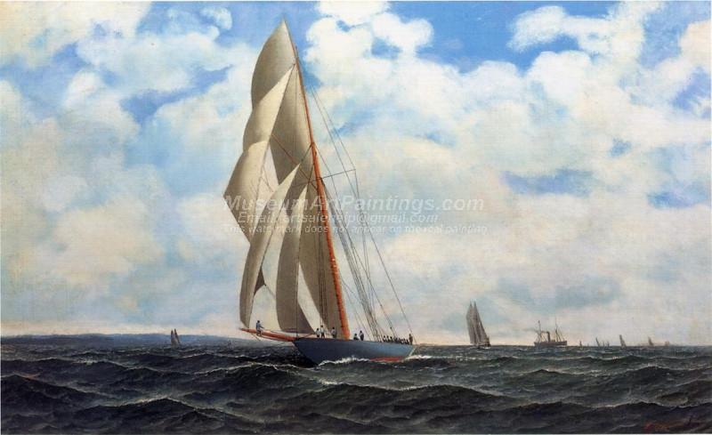 The Yacht Defender on a Leeward Reach by Sandy Hook