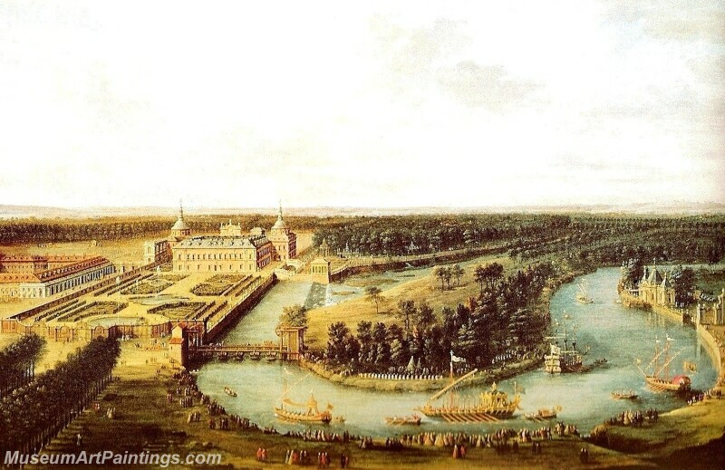 The squadron of the Tagus near the Royal Palace of Aranjuez Painting