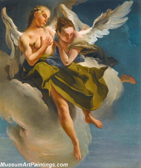 Two Angels in Flight Painting