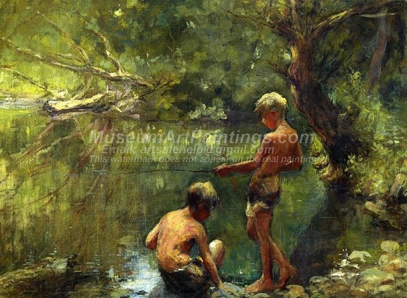 Two Boys Fishing Painting by Adam Emory Albright