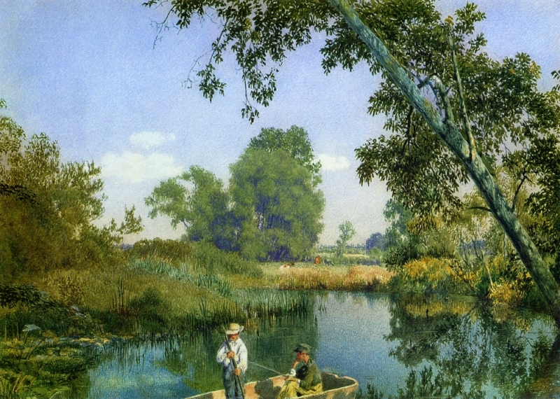Two Boys in a Rowboat by John William Hill