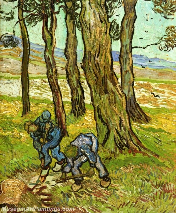 Two Diggers among Trees Painting