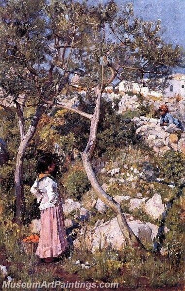 Two Little Italian Girls by a Village Painting