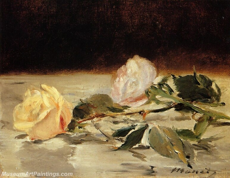 Two Roses on a Tablecloth Painting