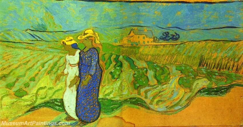 Two Women Crossing the Fields Painting