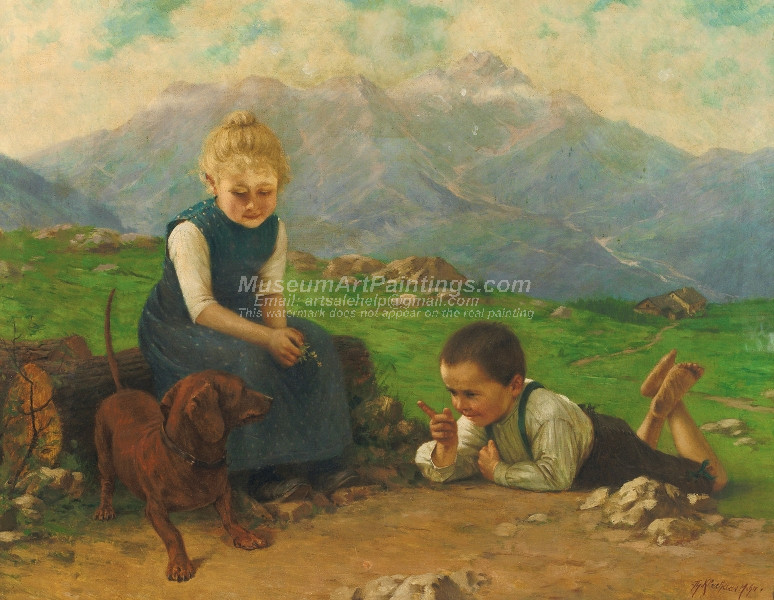 Two children on a mountain educating a dachshund