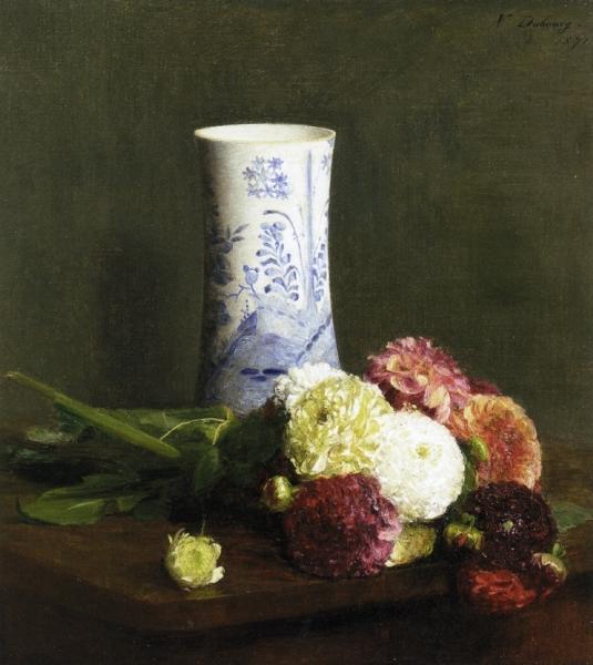 Vase of Zinias by Victoria Fantin Latour