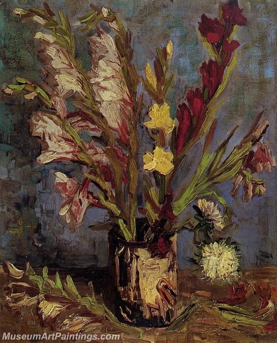 Vase with Gladioli Painting