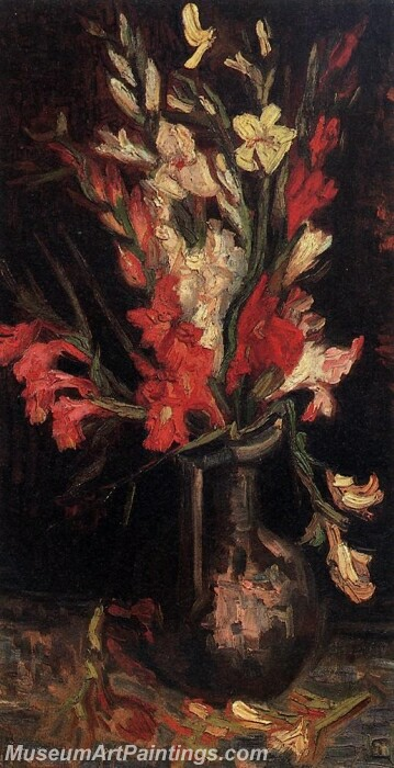 Vase with Red Gladioli Painting
