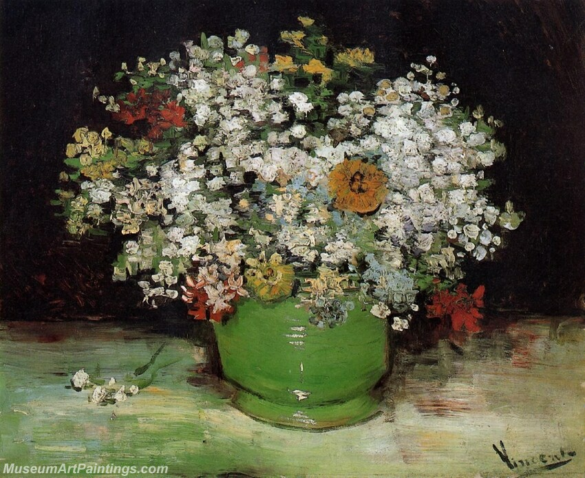 Vase with Zinnias and Other Flowers Painting