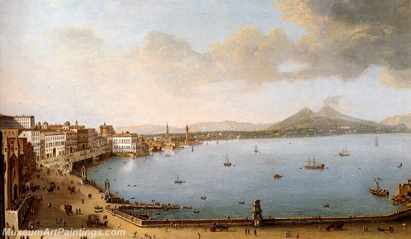 View Of Naples From The Strada Di Santa Lucia Painting