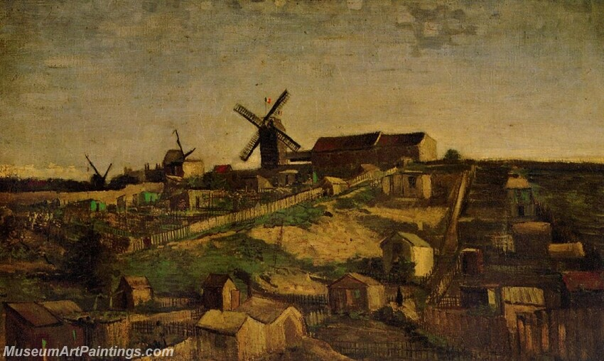 View of Montmartre with Windmills Painting