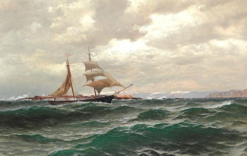 View of a Sailing Boat off the Norwegian Coast by Nils Hansteen